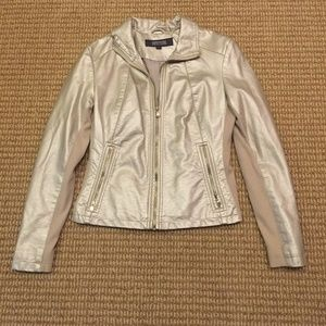 Kenneth Cole Reaction Metallic Leather Jacket S